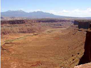 The Kane Creek Valley and La Sal Range beyond,  viewed from the Anticline Overlook.