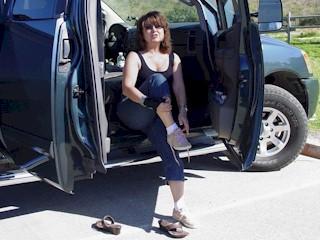Carrie, preparing for a walk around Mission La Purisima, near Lompoc, CA