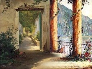 On the left-side is the Amalfi Coast terrace scene by Carl Frederik Aagaard.