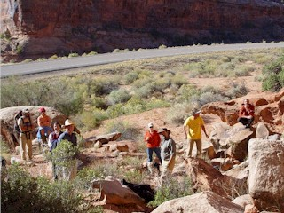 Confluence writers group at Seven Mile canyon, Moab, Utah.