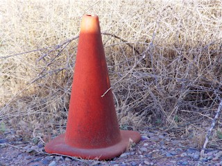Coney, the Traffic Cone standing near the end of Potash Road, Moab, Utah.