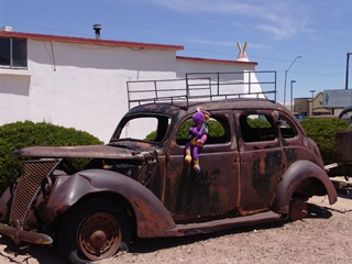 The welded roof rack helped Plush Kokopelli identify the Jack Kerouac 1937 Ford sedan at Wigwam Village, Holbrook, Arizona