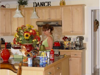 Carrie in her kitchen