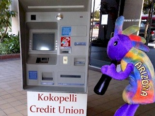 Plush Kokopelli wheels his personal ATM to his Suite at the Atlantis Casino, Reno, Nevada.