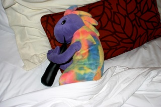 Plush Kokopelli is asleep at the Atlantis Casino Resort Spa, Reno, Nevada.