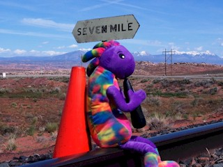 Plush Kokopelli and Coney the Traffic Cone searcing in vain for the Moab Burro at Seven Mile, near Moab, Utah.