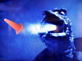 In the original 1954 movie, Godzilla unleashes his nuclear breath on Coney the Traffic Cone.