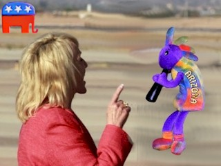 Arizona Governor Jan Brewer arrests Kokopelli, planning to replace the Ancient Spirit of Arizona with the GOP Elephant.