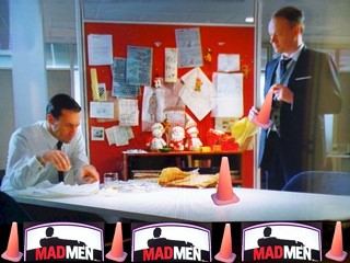 In Season 3 of Madmen, Coney the Traffic Cone convinces Don Draper and Lane Price to see Godzilla, the movie.